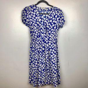 Vintage Blue White Daisy Floral V neck Dress